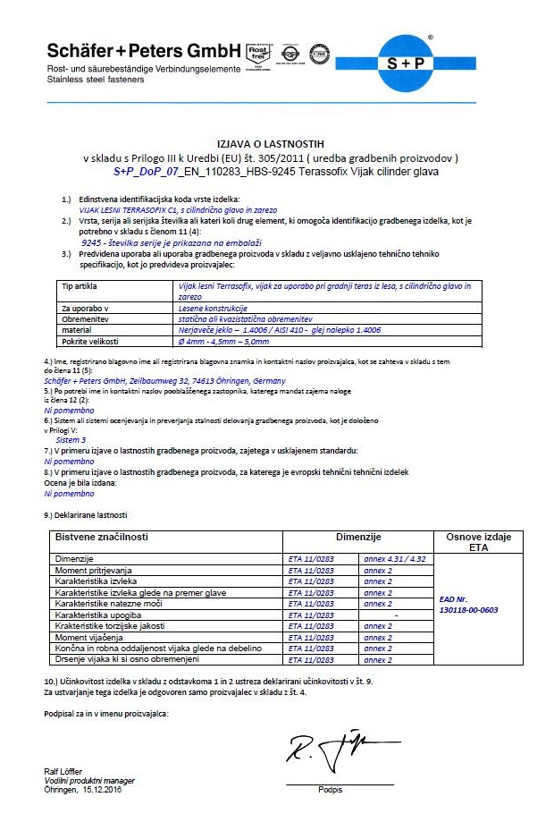 Declaration of performance - HBS 9245 Wood screw TERRASOFIX (cylinder head)